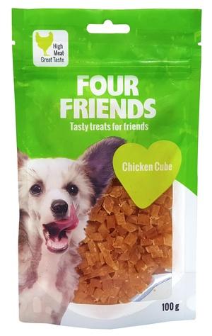 FOUR FRIENDS HUND CHICKEN CUBE 100 G